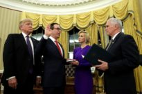 Ex-Goldman banker Mnuchin installed as Treasury secretary