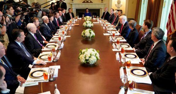 Trump hosts lunch with Republican senators, Obamacare repeal on menu