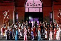 Ferragamo strolls through Milan daisy garden under the stars