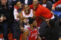 Raptors advance past 76ers on Leonard's wild shot