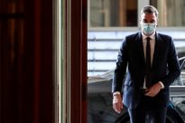 Masked and distanced, Spanish PM Sanchez hits the campaign trail